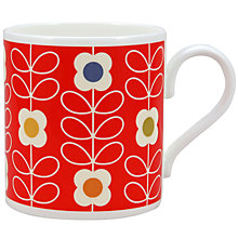 Buy Orla Kiely Linear Flower Mug, Red Online at johnlewis.com