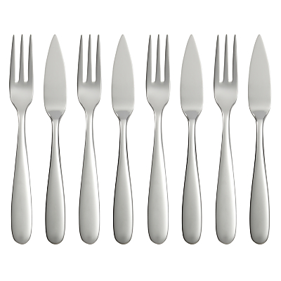 Robert Welch Stanton Bright Cutlery Fish Eaters, Set of 8