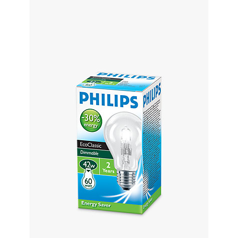 Buy Philips Halogen 42W ES Classic Bulb, Clear Online at johnlewis.com