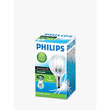 Buy Philips Halogen Classic SES Golf Ball Bulb, Clear, 28W Online at johnlewis.com