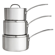 Buy John Lewis 3-Ply 3 Piece Saucepan Set Online at johnlewis.com
