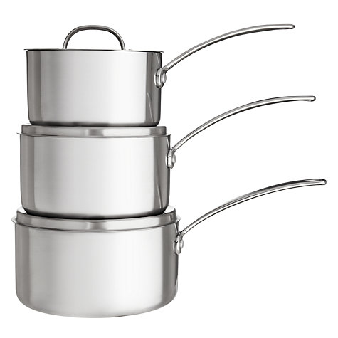 Buy John Lewis 3-Ply Saucepan Set, 3 Piece Online at johnlewis.com