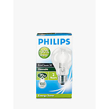 Buy Philips Eco Halogen Classic ES Bulb, Clear, 70W Online at johnlewis.com