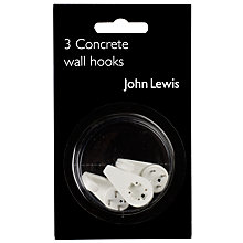 Buy John Lewis Concrete Wall Hooks, Set of 3 Online at johnlewis.com