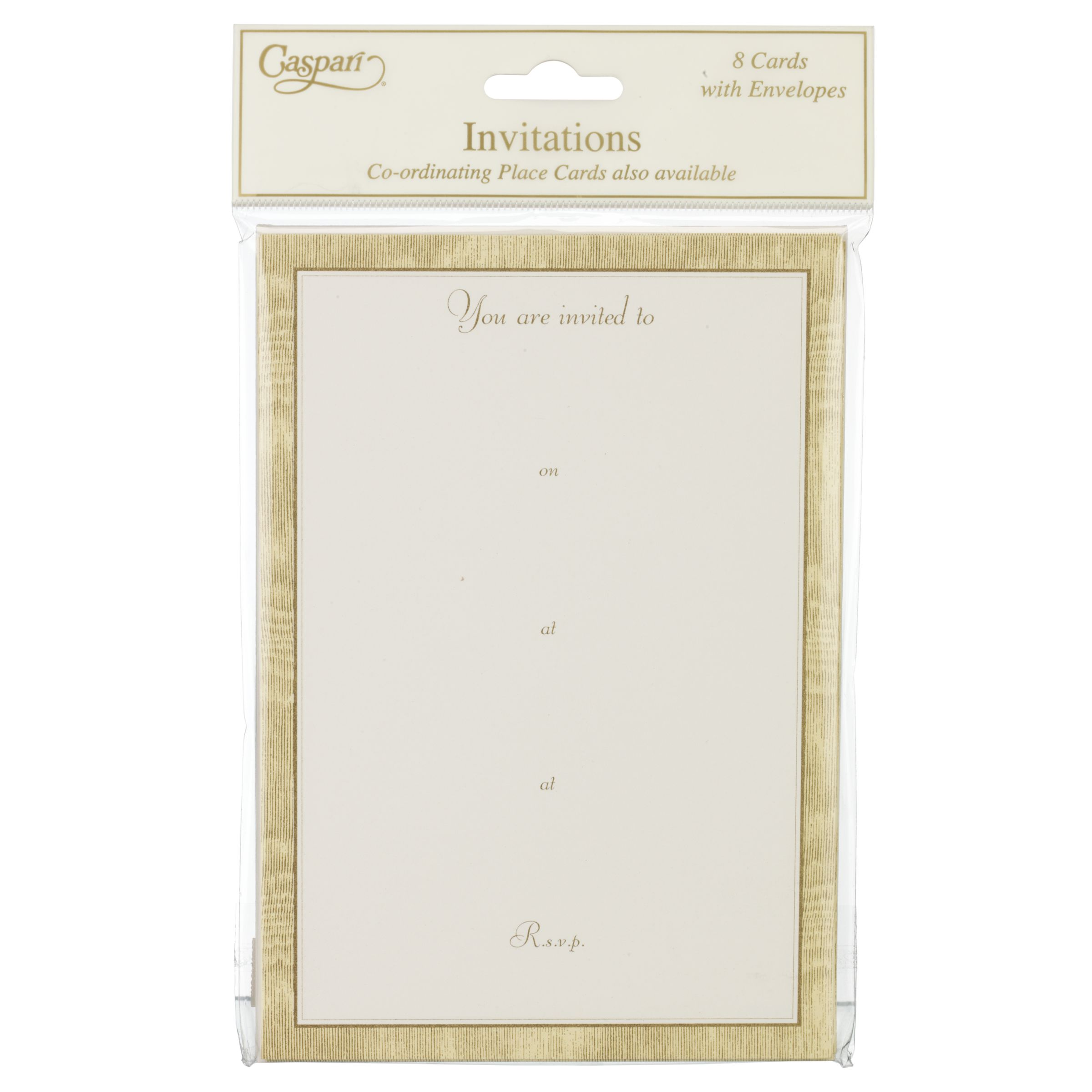 Caspari Gold Moiré Invitations, Set Of 8
