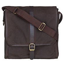 Buy Barbour Wax Cotton Messenger Bag, Brown Online at johnlewis.com