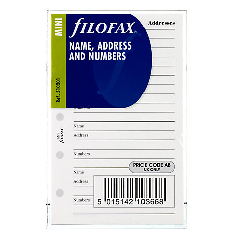 Buy Filofax Name / Address / Numbers Headed Paper, Mini Online at johnlewis.com