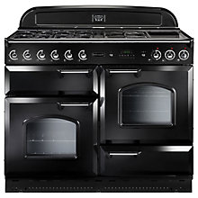 Buy Rangemaster Classic 110 Dual Fuel Range Cooker, Black/Chrome Trim and LEIHDC110BC Chimney Cooker Hood, Black Online at johnlewis.com
