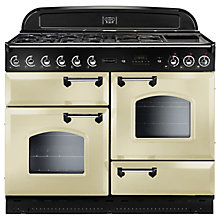 Buy Rangemaster Classic 110 Dual Fuel Range Cooker, Cream/Chrome Trim and LEIHDC110CR/C Chimney Cooker Hood Online at johnlewis.com