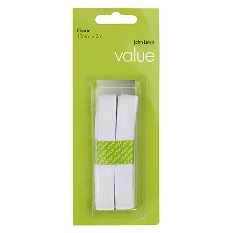 Buy John Lewis The Basics 13mm Elastic, White Online at johnlewis.com