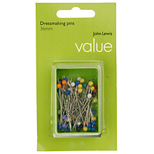 Buy John Lewis Value Plastic Headed Pins, Set of 60 Online at johnlewis.com