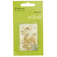 Buy John Lewis The Basics Brass Safety Pins, Set of 30 Online at johnlewis.com