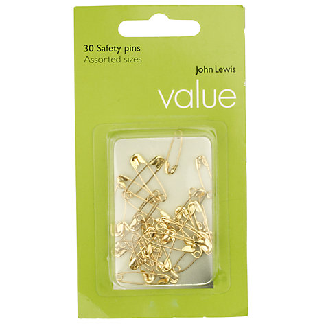 Buy John Lewis Value Brass Safety Pins, Set of 30 Online at johnlewis.com
