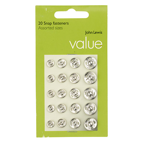 Buy John Lewis The Basics Nickle Snap Fasteners, Set of 20 Online at johnlewis.com