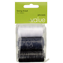 Buy John Lewis The Basics Sewing Threads, Assorted Colours, Pack of 3 Online at johnlewis.com