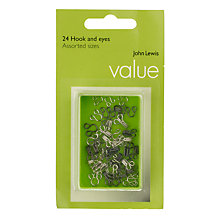 Buy John Lewis Value Hooks and Eyes Set, Black/White Online at johnlewis.com