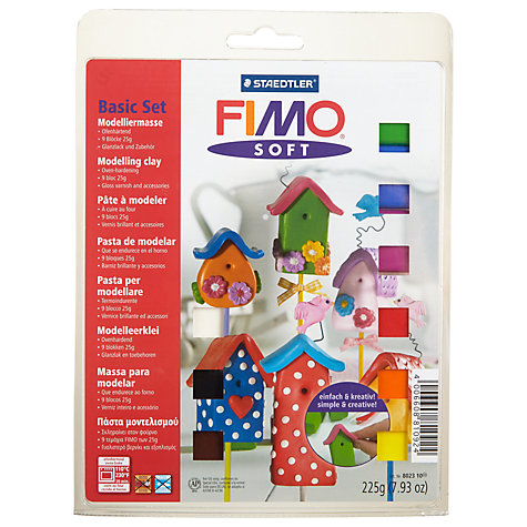 Buy Fimo Soft Modelling Clay Basic Set, 9 Coloured Half Blocks Online at johnlewis.com