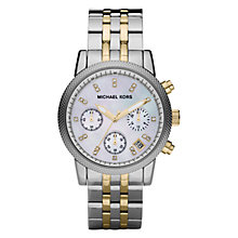 Buy Michael Kors MK5057 Women's Chronograph Stainless Steel Bracelet Strap Watch, Silver/Gold Online at johnlewis.com