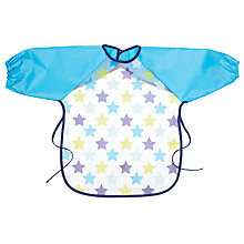 Buy John Lewis Long Sleeve Star Peva Bib, Blue Online at johnlewis.com