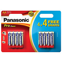 Buy Panasonic Pro Power Alkaline AA Batteries, Pack of 4 + 4 Free Online at johnlewis.com