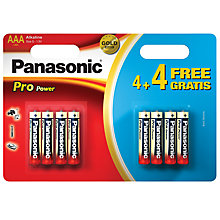 Buy Panasonic Pro Power Alkaline AAA Batteries, Pack of 4 + 4 Free Online at johnlewis.com