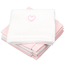 Buy John Lewis Baby Muslin Squares, Pack of 6, Pink Heart Online at johnlewis.com