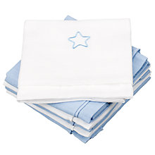 Buy John Lewis Baby Muslin Squares, Pack of 6, Blue Star Online at johnlewis.com
