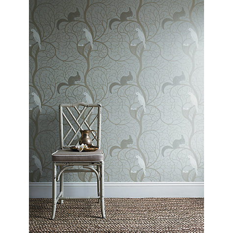 Buy Sanderson Squirrel & Dove Wallpaper, DVIWSQ102, Teal / Red Online at johnlewis.com