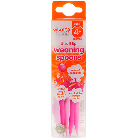Buy Vital Baby Weaning Spoons, Pack of 5, Various Colours Online at johnlewis.com