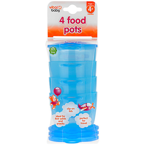 Buy Vital Baby Food Pots, Set of 4, Various Colours Online at johnlewis.com