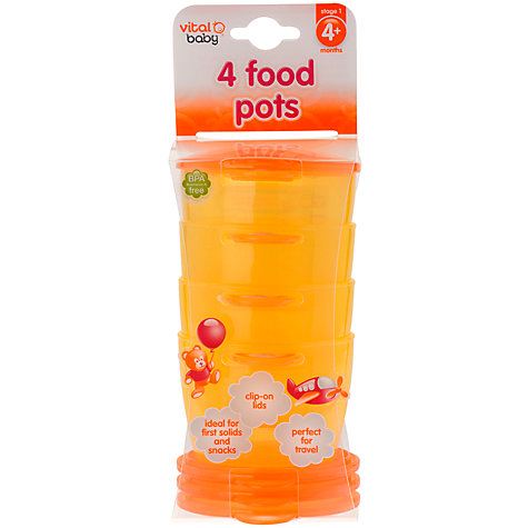 Buy Vital Baby Food Pots, Orange, Set of 4 Online at johnlewis.com