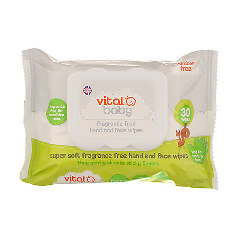 Buy Vital Baby Fragrance Free Hand and Face Wipes, Pack of 30 Online at johnlewis.com