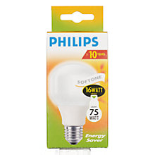Buy Philips Softone Energy Saving ES Bulb,16W Online at johnlewis.com