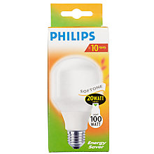 Buy Philips Softone Energy Saving ES Bulb, 20W Online at johnlewis.com
