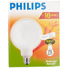 Buy Philips Softone Energy Saving ES Globe Bulb, 16W Online at johnlewis.com