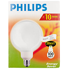 Buy Philips Softone Energy Saving ES Globe Bulb, 20W Online at johnlewis.com