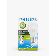 Buy Philips Halogen Classic Clear BC Bulb, 28W Online at johnlewis.com