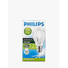 Buy Philips Halogen Classic Clear BC Bulb, 105W Online at johnlewis.com