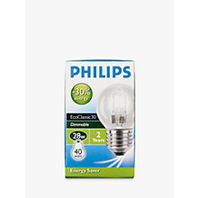 Buy Philips Halogen Classic Clear ES Golf Ball Bulb, 28W Online at johnlewis.com