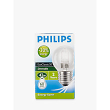 Buy Philips Halogen Classic Clear ES Golf Ball Bulb, 42W Online at johnlewis.com