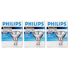 Buy Philips Twistline GU10 Halogen Bulb, 50W, Pack of 3 Online at johnlewis.com