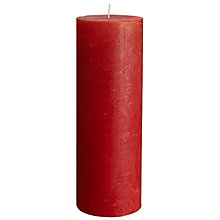 Buy John Lewis Rustic Round Pillar Candle, Red Online at johnlewis.com