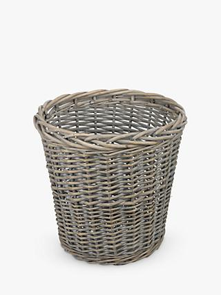 John Lewis & Partners Wicker Waste Paper Bin, Grey Wash