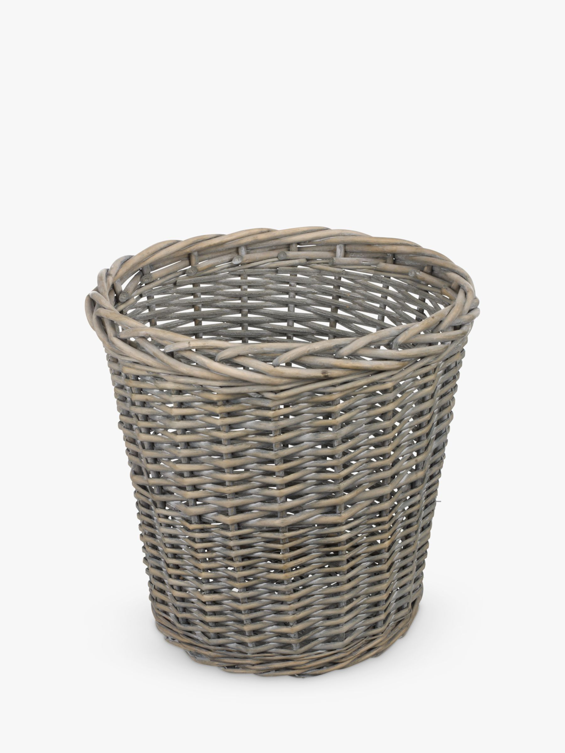 John Lewis Willow Wastepaper Bin, Grey Wash