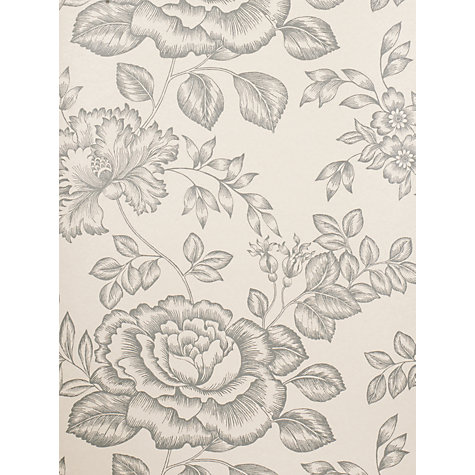 Buy John Lewis Botanical Rose Wallpaper, Steel Online at johnlewis.com
