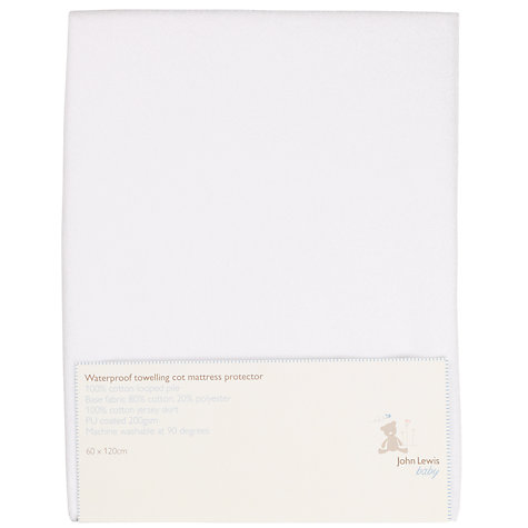 Buy John Lewis Baby Towelling Waterproof Cot Protector, 120 x 60cm Online at johnlewis.com
