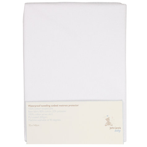 Buy John Lewis Baby Cotbed Mattress Protector, White Online at johnlewis.com