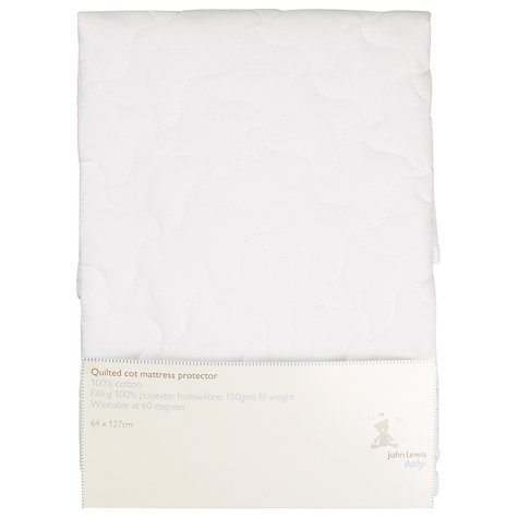Buy John Lewis Baby Quilted Cot Mattress Protector, White Online at johnlewis.com