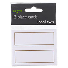 Buy John Lewis Place Cards, Pack of 12, Gold Online at johnlewis.com