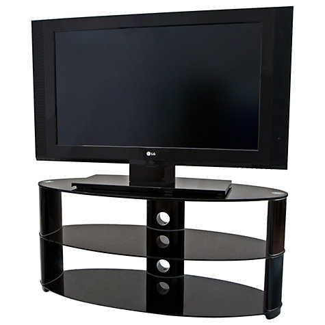 "Buy John Lewis Oval JL850/3BB Television Stand for TVs up to 40"", Black Glass Online at johnlewis.com"